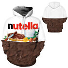 Men Women 3D Print Nutella Chocolate Hoodie Couple Sweatshirt Tracksuit Pullover