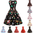 Women Xmas Christmas 50s 60s Retro Rockabilly Pinup Housewife Party Swing Dress