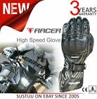 #Racer High Speed Motorcycle/ Bike/ Racing Mens Leather Gloves│CE Approved│Black