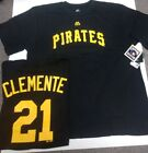 ROBERTO CLEMENTE PITTSBURGH PIRATES NAME AND NUMBER SHIRT BLACK MENS 2X OR 4X