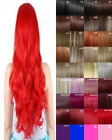 Clip in Hair Extension Human Feel Dark Red Copper Brown White Blonde Pink Blue