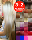 Hair Extensions Clip in Hair Real Feel Golden Ash Bleach Blondes Honey Brown Red