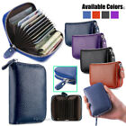 New Solid Leather Accordion Wallet Zip Around ID Credit Card Case Holder image