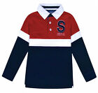 Boys Polo Jumper Top Kids Long Sleeve Cotton School Sweatshirt Top Ages 7-17 Yrs