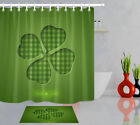 72in Long Bathroom Set Waterproof Fabric Shower Curtain Liner Good Luck Clover
