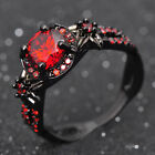 Junxin Flower Shiny Red Ruby Wedding Ring Black Gold Promise Jewelry Size5-11 Us