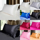 Solid Color Silk Queen/Standard Pillow Case Bedding Pillowcase Home Decoration image