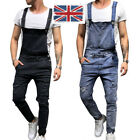UK STOCK Men's Ripped Jeans Jumpsuits Street Distressed Denim Trousers Pants
