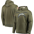 Men's Los Angeles Chargers Olive Salute to Service Sideline Therma Hoodie 2019 $78.99 USD on eBay