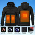 Hot Men Women Electric Heating Vest USB Hooded Heated Coat Jacket Temp Control