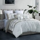 11 Piece Payton Taupe/White Bed in a Bag Set