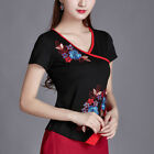 Lady Chinese Style Shirt Embroided Long Short Sleeve Shirt Basic Tee Dance Tops