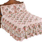 Pink Rose Trellis Ruffled Bedspread, by Collections Etc image