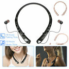 Wireless BT Headset Neckband Retractable Stereo Headphone Earphone w/ Mic