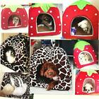 Soft Strawberry Leopard Pet  Dog Cat House Kennel Doggy Cushion Basket Fashion