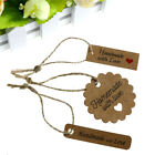 100PCS Paper Tags 10Meters Rope Handmade Paper Card Labels DIY Gift Wrapping Pip