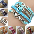 Fashionable Multilayer PU Leather Rope Pearl Bracelet Wristband Jewelry Gift 32