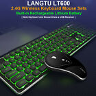 Wireless Rechargeable LED Backlit USB Mice Ergonomic Gaming Keyboard Mouse Set