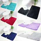 New 2PCS  Pattern Toilet Anti-Slip Mat With Rubber Backing Bathroom Rug