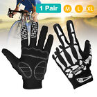 Mens Cycling Bike Motorcycle Skull Bone Skeleton Goth Racing Full Finger Glove