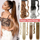 100% Real Thick Clip In One Piece Hair Extensions Ponytail Wrap Around Pony Tail
