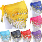 USA Belly Dance Dancing Hip Skirt Scarf Wrap Belt Costume with 3 Rows Gold Coins