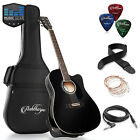 Full-Size Cutaway Thinline Acoustic-Electric Guitar with Gig Ba фото