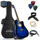 Full-Size Cutaway Thinline Acoustic-Electric Guitar with Gig Bag & EQ