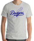 Los Angeles Dodgers Gray T-Shirt Royal Graphic Cotton Men Adult Logo Jersey LA on Ebay