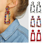 Women Boho Geometric Drop Dangle Hook Acrylic Resin Ear Stud Earrings Jewelry image