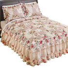 Rose Garden Quilt-Style Ruffled Bedspread, by Collections Etc image