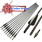 Archery Carbon Arrows Spine 400 Target Hunting Compound Recurve Bow 26/28/30 in.