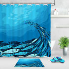 Shower Curtain Liner Bathroom Mat Waterproof Fabric A Group Of Fish In The Sea
