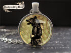 Backpacking Bear Pendant Necklace Anthropomorphic Animal Men Steampunk Jewelry