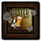 Hester Family Name Drink Coasters - 4pcs - Wine Beer Coffee & Bar Designs