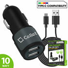 Cellet 2.1A 10W Dual USB Car Charger with Type C Cable for S10+ Note 9 Pixel 3XL