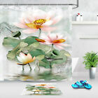 Lotus In The Water Dragonfly Shower Curtain Set Bathroom Mat Waterproof Fabric