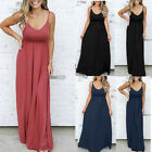 US Women Sexy Sleeveless Solid Color Maxi Causal Holiday Beach Party Long Dress