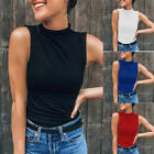 Women Sleeveless Slim Turtleneck Solid Casual Blouse Tank Top T-Shirt Plus Size