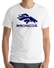 Denver Broncos WHITE T-Shirt NAVY Graphic Cotton Adult Logo  S-2XL $11.99 USD on eBay