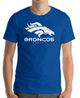 Denver Broncos BLUE T-Shirt WHITE Graphic Cotton Adult Logo  S-2XL $11.99 USD on eBay