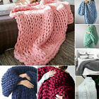 100x120cm Soft Warm Hand Chunky Knitted Home Sofa Bed Blanket Sofa Bed Blanket image