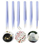 6x Professional  Anti-Static Tweezers Set Stainless Steel Non Magnetic Craft Kit