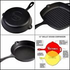 Victoria Seasoned Cast Iron Skillet  .Pan Long Handle. 6.5-8-10-12-inch +Square