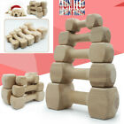 Durable Real Wood Dog Chew Bone Toy Dogs Safe Dumbbell Shape Teething Healthy L7