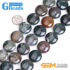 Natural Assorted Polished Stone Coin Beads For Jewelry Making Free Shipping 15""