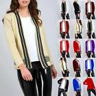 Womens Ladies Striped Fine Knitted Long Sleeve Jumper Open Sweater Twin Cardigan