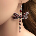 Gorgeous Red Ruby Dragonfly 925 Silver Drop Hook Earrings Women Wedding Jewelry image