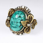 Vintage Native American Silver Over 100 Natural Spiderweb Turquoise Ring RKM1