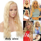 Deluxe 8A Peruvian Virgin Human Hair 613 Blonde Straight Lace Front Wig Women D1
